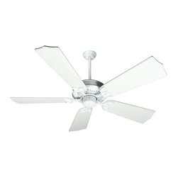 Craftmade - American Tradition 56 in. Fan in White w Custom Carved Traditional Blades in Dis - Fan Specs:. Heavy-Duty, 3 Speed Reversible Motor. 2 in. and 6 in. Downrods (Included). Meets Energy Star Energy Efficiency Standards. Number of Fan Blades: 5. Blade Pitch: 16°. Motor Size: 188 x 20mm. High Speed Amps: 0.7. RPM (Hi-Med-Low): 196-115-70. Airflow (Cubic FT/MIN): 6989. Electricity Use: 84 Watts. Airflow Efficiency (Cubic FT/Min/Watt): 72. Blade Specs:. Blade Length: 56 in.. Suitable for Damp Locations