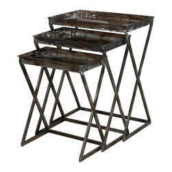 Powell - Powell Reflections Set of 3 Nesting Tables - Set of 3 nesting tables belongs to reflections collection by Powell. Industrial and vintage combine to form these eye-catching metal nesting tables. The set of three graduated tables feature trendy, sturdy shaped legs and flat spacious tabletops. The gloss metal finish makes this set distinctively different. Will instantly add function and style to your decor. Some assembly required.