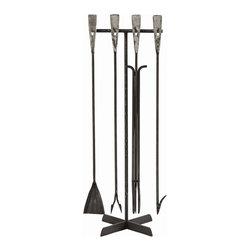 Arteriors - Arteriors 6331 Henry Fireplace Tool Set - Arteriors 6331 Henry Fireplace Tool Set made with Black Waxed Iron/Polished Aluminum Handles.