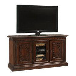 Lexington - Lexington Fieldale Lodge Sundance Media Console 455-907 - The fabric covered exterior is exquisitely detailed with leather strapping, nailhead trim, and aged antique brass hardware. The bottom drawer provides storage, and the top lid opens to reveal a sliding removable tray with file storage below.