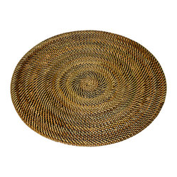 Kouboo - Round Nito Placemat, Brown - Set the most amazing tablescape with these hand woven placemats. Whether casual or formal the tight weave with alternating colors of Nito vines adds an exotic and elegant touch. Only 0.25 inches thick, rigid and very even surface ensures wine glasses stand firm.1 year limited warranty.
