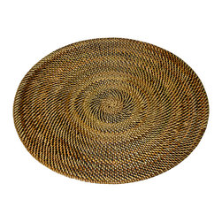 Kouboo - Round Nito Placemat Set of 2, Brown - Set the most amazing tablescape with these hand woven placemats. Whether casual or formal the tight weave with alternating colors of Nito vines adds an exotic and elegant touch. Only 0.25 inches thick, rigid and very even surface ensures wine glasses stand firm.1 year limited warranty.