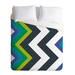 Karen Harris Modernity Galaxy Cool Chevron King Duvet Cover - Count on chevron to make a sharp impression in your bedroom. Black and white bring graphic appeal, but the inclusion of shades of blue and green help ground the color palette and provide a jumping off point for designing a whole room.