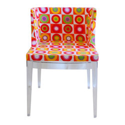 Fiore Circle Accent Chair - Imagine! Doesn't it look like you are floating on colorful bubbles when seating on the chair? This colorful circles accent chair will brighten your living space to the highest degree! With a fabric seat in vivid multicolor hues such as pink, red, green, purple, white and yellow, this modern piece will be the star of the show. The legs are a clear transparent acrylic, and construction of the seat is done in wood with firm high-density foam cushions. Assembly is required.