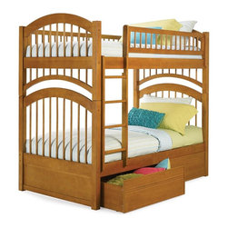 Atlantic Furniture - Windsor Twin Over Twin Bunk Bed w Flat Panel - Finish: Natural MapleNOTE: ivgStores DOES NOT offer assembly on loft beds or bunk beds. Includes upper and lower panels, rails, clip-on ladder, 2 slat kits and flat panel trundle. Mattress not included. Solid hardwood Mortise & Tenon construction. 26-Steel reinforcement points. Made of premium, eco-friendly hardwood with a 5-step finishing process. Boasts long arches and 3 in. corner posts. Designed for durability. Guard rails match panel design. Meet or exceed all ASTM bunk bed standards, which require the upper bunk to support 400 lbs.. Pictured in Caramel Latte finish. 1-Year manufacturer's warranty. Clearance from floor without trundle or storage drawers: 11.25 in.. 79.75 in. L x 42.75 in. W x 71 in. H. Flat panel drawers: 74 in. L x 22 in. W x 12 in. H. Bunk Bed Warning. Please read before purchase