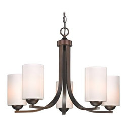 Design Classics Lighting - Modern Bronze Chandelier with Opal White Cylinder Glass Shades - 584-220 GL1024C - Contemporary chandelier in Neuvelle bronze finish with shiny opal white cylinder glass shades and five lights. Takes (5) 100-watt incandescent A19 bulb(s). Bulb(s) sold separately. UL listed. Dry location rated.