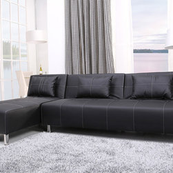 None - Atlanta Black/ White Stitching Convertible Sectional Sofa Bed and Chaise Set - The multi-functional,sectional sofa bed and chaise lounger in this set offers a contemporary design that adds comfort and style to your home. European style with sleek design inspires a fresh look for your living space.