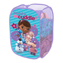 Doc McStuffins - Doc McStuffins 'Need a Cuddle?' Pop-Up Hamper - Add a space for dirty duds to any bedroom without detracting from its playful decorative theme with the addition of this hamper. It features a space-savvy, collapsible design that makes it easy to store when empty and features the ever-lovable Doc McStuffins on the sides.   13.5'' W x 21.5'' H x 13.5'' D Polyester Imported