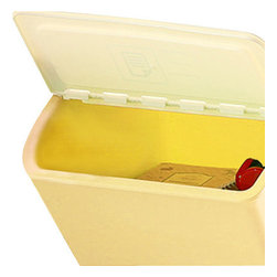 Trinket Tamer - The Storage Bins, Yellow, Large - these storage bins come with a plastic flap lid and a set of clear sticker labels for you to easily identify what is stored within. organization made easy and stylish.available in small, medium and large sizes and in pink, blue, yellow, and green
