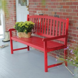 Pleasant Bay 5 ft. Slat Curved Back Bench - Red - The Pleasant Bay 5 ft. Slat Back Bench - Red makes a beautiful addition to any garden porch or patio. This handsome bench is exclusively offered through this site and unavailable elsewhere featuring a sturdy frame constructed from solid acacia and a sleek red finish. A contoured seat and straight armrest provide comfort and a slatted back provides support. The piece assembles quickly and easily. About Coral Coast What if when you closed your eyes you pictured yourself in your own backyard? Coral Coast has a collection of easygoing affordable outdoor accessories for your patio pool or backyard. The latest colors and styles mingle with true classics in weather-worthy fabrics and finished woods ready for relaxation. Make yours a life of leisure.