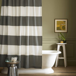 Stripe Shower Curtain, Feather Gray - Bold stripes give a dose of graphic zest to crisp cotton.