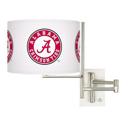 "Collegiate Art Shades - Kids The University of Alabama Steel Swing Arm Wall Light - Show your 'Bama pride with this lighting design. Whether you're a student alumni or fan this swing arm wall light showcasing the Alabama logo makes a handsome statement about your school or team spirit. This officially licensed design is printed on a high-quality shade using our patented giclee process.  This plug-in style design features a brushed steel finish and ample 26"" arm extension. U.S. Patent # 7347593. Officially licensed college product. The University of Alabama Crimson Tide® logo. Brushed steel finish. Dimmer switch on base. Maximum 100 watt or equivalent bulb (not included). 14"" high. Shade is 12"" wide 8 1/2"" high. Backplate is 4 1/2"" wide 6 1/2"" high 1"" deep. Extends 26"" from the wall. May only be shipped to the 50 United States and U.S. territories possessions or military bases.  Brushed steel finish.  Dimmer switch on base.  Maximum 100 watt or equivalent bulb (not included).  Backplate is 4 1/2"" wide 6 1/2"" high 1"" deep.  Shade is 12"" wide 8 1/2"" high.  14"" high.  Extends 26"" from the wall."