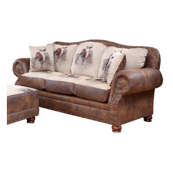 Chelsea Home Furniture - Chelsea Home Big Buck Sofa in Trophy Buck and Pinto Tobacco Microfiber - Big Buck sofa in Trophy Buck and Pinto Tobacco Microfiber belongs to Verona II collection by Chelsea Home Furniture