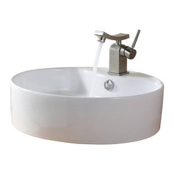Kraus - Kraus White Round Ceramic Sink and Unicus Basin Faucet Brushed Nickel - *Add a touch of elegance to your bathroom with a ceramic sink combo from Kraus