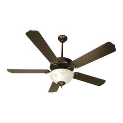 "Craftmade - Craftmade CDU201OB-CFL Oiled Bronze Custom Blade Options Ceiling Fan - CD Unipack 201 Contractor s Fan with Integrated Bowl Light Kit The CD Unipack 201 is versatile, durable and includes an Alabaster light kit. Features  Standard 153 x 12, 3 Speed Reversible Motor Blade Sweep Options: 42"" and 52"" Two Downrods Supplied, 2"" and 4"" 30 Year Limited Warranty Five Custom Blades matched to exact weight - sold separately, see below Universal Remote Adaptable - Optional Alabaster Glass Bowl Kit - Requires 2 13w CFL medium base bulbs (included) Additional Blade Selections in 42"" Size Available  Popular combinations (see Product Multimedia):   Brushed Nickel Motor with 52"" Contractor s Design Rosewood Blades White Motor with 52"" Contractor s Design White Blades Oiled Bronze Motor with 52"" Contractor s Design Oiled Bronze Blades Antique White Motor with 52"" Contractor s Design Antique White Blades Brownstone Motor with 52"" Contractor s Design Washed Walnut Birch Blades  Customize your fan:  Blade options: Works with Type 5 Blades Light kit options: Bowl Light Kit Included  Measurements (see Product Multimedia for accompanying line art)  A. Ceiling to Bottom of Light Kit with 2"" Downrod: 15.0"" A. Ceiling to Bottom of Light Kit with 4"" Downrod: 17.5"" B. Ceiling to Fan Blades 2"" Downrod: 8.5"" B. Ceiling to Fan Blades 4"" Downrod: 10.0"" C. Fan Width: 11.0"" D. Canopy Width: 5.125"" E. Motor Housing Height: 3.5"""