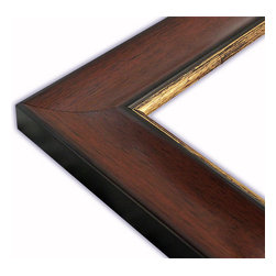 The Frame Guys - Wide Scooped Walnut with Gold Lip Picture Frame-Solid Wood, 10x10 - *Wide Scooped Walnut with Gold Lip Picture Frame-Solid Wood, 10x10