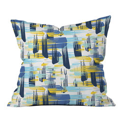 DENY Designs - Zoe Wodarz Indigo Ikat Outdoor Throw Pillow - Do you hear that noise? it's your outdoor area begging for a facelift and what better way to turn up the chic than with our outdoor throw pillow collection? Made from water and mildew proof woven polyester, our indoor/outdoor throw pillow is the perfect way to add some vibrance and character to your boring outdoor furniture while giving the rain a run for its money.