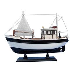 "Handcrafted Model Ships - Mr. Shrimp 16"" - Wooden Model Fishing Boat - Not a model ship kit"