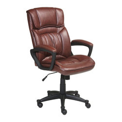 Serta by True Innovations - Serta Office Chair in Puresoft Cognac Brown Faux Leather - Serta by True Innovations - Office Chairs - 43504 - About This Product: