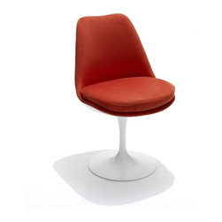 "Knoll - Saarinen Upholstered Tulip Side Chair - In any design problem, one should seek the solution in terms of the next largest thing, designer Eero Saarinen once said. ""If the problem is a chair, then its solution must be found in the way it relates to the room."" One glance at the ultra-modern Tulip Chair and you'll instantly think of a place in your home for it. Whether you put four of them around your kitchen table or in your home office, the Tulip Chair is a standout addition to any setting. THE DESIGN 
