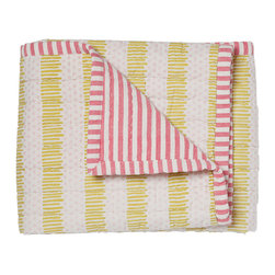 "Pehr Designs - Pink, Citron Quilted Nursery Blanet - The 100% quilted cotton and yarn dyed stripe blanket is destined to be the family favorite blankie. Quilted front, yearn dyed stripe reverse. 36"" x 36"""