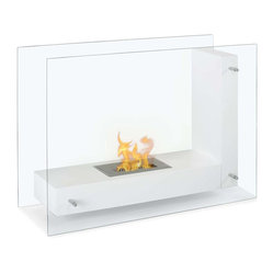 "Ignis - Vitrum L White Freestanding Ventless Ethanol Fireplace - Whether you install it in the den, living room, or bedroom, you'll find yourself enchanted by the welcoming warmth of this Vitrum L White Freestanding Ventless Ethanol Fireplace. It offers a sleek, modern look that is well at home in your contemporary decor. With clear glass sides and a white L-shaped inner plate for holding the flame, this free standing fireplace design offers you the ease of seeing inside the unit from nearly any spot in your room. It throws out 6,000 BTUs of warm, welcoming heat that is a comfort to come home to. The burner holds 1.5 liters of bio ethanol fueland burns for around five hours. Dimensions: 31.5"" x 23.75"" x 12.5"". Features: Ventless - no chimney, no gas or electric lines required. Easy or no maintenance required. Freestanding - can be placed anywhere in your home (indoors & outdoors). Capacity: 1.5 Liter Burner. Approximate burn time - 5 hours per refill. Approximate BTU output - 6000."