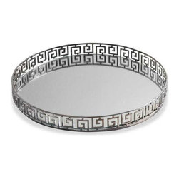 Interlude Home - Interlude Home Meandros Round Tray - This Interlude Home Round Tray is crafted from Iron and Mirror and finished in Polished Nickel.  Overall size is:  16 in. W x  16 in. D x 2 in. H.