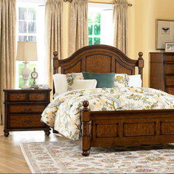 Homelegance - Homelegance Langston 2 Piece Poster Bedroom Set in Brown Cherry - An updated take on classic country style, the Langston Collection blends effortlessly into your cozy bedroom. Cannonball finials top the bedposts, while distinct framing adds to the classic design of the bed. Metal knob and bale hardware adorn each case piece, as do rounded pilasters. Further completing the collection is the rich burnished pine finish. - 1746-PSB-2-SET.  Product features: Langston Collection; Brown Cherry Finish; Classic country style; Cannonball finials top the bedposts; Metal knob and bale hardware. Product includes: Poster Bed (1); Nightstand (1). 2 Piece Poster Bedroom Set in Brown Cherry belongs to Langston Collection by Homelegance.