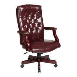 Office Star - Work Smart TEX Collection TEX232-JT4 Traditional Executive Chair w/ Padded Arms - TEX232-JT4 Traditional Executive Chair w/ Padded Arms - Jamestown Vinyl belongs to TEX Collection Collection by Work Smart Traditional Executive Chair with Padded Arms. Thick Padded Seat and Back with Built-in Lumbar Support. One Touch Pneumatic Seat Height Adjustment. Locking Tilt Control with Adjustable Tilt Tension. Padded Armrests. Jamestown Oxblood Vinyl (-JT4). Mahogany Finish Wood Covered Steel Base with Dual Wheel Carpet Casters. Office Chair (1)