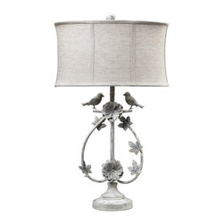 Dimond Lighting - Dimond Lighting 113-1134 Saint Louis Heights 1 Light Table Lamps in Antique Whte - 2 Birds Iron Table Lamp