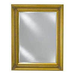 Afina - Estate Decorative Wall Mirror (Small) - Choose Size: Small. Rectangular shape. Beveled edge. Can be hung vertically or horizontally. 1 in. frame thickness. Clean with mild soap and water. Distinctive wood frame. Warranty: One year. Antique gold finish. Molding width: 4 in.. Small: 28 in. W x 34 in. H. Medium: 34 in. W x 42 in. H. Large: 40 in. W x 51 in. H