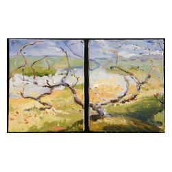 Untitled Landscape (Diptych), Original, Painting - Two paintings come together as one, united by a delicate windswept tree. Soft, muted colors and choppy, impressionistic brushstrokes add a dreamlike quality to Julia Greenway's work. Hang them together above your sofa or mantle, or put one on each side of an open doorway for a playful twist.