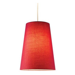 Adesso 4000-08 Harvest Cone Pendant - Red - Sleek and sassy, the Adesso 4000-08 Harvest Cone Pendant - Red is a colorful way to light up your space. This modern pendant light has a conical shade of hard-backed fabric in cherry red. It mounts to the ceiling, includes a slim white cord, and runs on a single bulb (not included).About AdessoAdesso was established in 1994 based on the belief that there was an under-served niche among consumers who sought high-quality, contemporary home products at moderate prices. Since then, Adesso has not only revolutionized the home industry with its products and service, but has also gained substantial recognition for its well-designed and well-priced lamps and RTA (Ready-To-Assemble) furniture, quickly establishing itself as an industry leader. Its collections represent a variety of home accents and furniture, including lighting, kids lamps, clocks, tables, chairs, coat racks, and screens. With these and all of its other innovative products, Adesso continues to shape the future of home design.