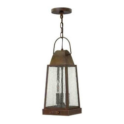 Hinkley - Hinkley 1772SN Sedgwick 3 Light Outdoor Hanging Lantern in Sienna 1772SN - Sedgwick's all brass construction symbolizes the best of vintage Hinkley quality and style. This traditional tapered rectangular lantern features a charming hinged door with sliding latch for authentic appeal. The classic Sienna finish combines beautifully with generous panels of clear seedy glass and embodies the essence of historic New England architecture and sophistication.Three 60w Candelabra BulbADA Compliant: No Bulb Type: Candle Canopy Diameter: 5 Chain: 60 Collection: Sedgwick Dark Sky: No Energy Star Compliant: No Finish: Sienna Glass: Clear Seedy Glass Height: 18-3 4 Leadwire: 72 Material: Solid Brass Number of Lights: 3 Outdoor Listed: Yes Safety Rating: c-UL-us Damp Socket 1 Base: Candle Socket 1 Max Wattage: 60 Voltage: 120 Wattage: 60 Weight: 8 Width: 7