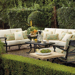 Carlisle Seating, Onyx Finish - This beautiful outdoor seating adds a classy touch to any patio or back porch. Add your favorite colors and patterns and personalize the space with throw pillows.