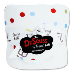 """Trend Lab - Bouquet Hooded Towel - Dr. Seuss One Fish Two Fish - Trend Lab's Dr. Seuss One fish two fish Hooded Towel will keep your baby warm and dry after bath time. The white terry towel features a cotton percale dot print throughout the hood and trim in avocado green, barn red, sunshine yellow, cornflower blue and powder blue. Hooded towel measures 32"""" x 30"""". Product sold under license from Dr. Seuss Enterprises, L.P."""