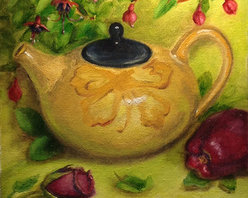 """""""Japanese Teapot"""" (Original) By Tatiana Roulin - This Still Life Was Painted Directly From Life. Participated In Many Local Art Exhibitions In Ma. Professionally Framed."""