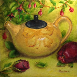 """Japanese Teapot"" (Original) By Tatiana Roulin - This Still Life Was Painted Directly From Life. Participated In Many Local Art Exhibitions In Ma. Professionally Framed."