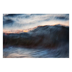 "Wave No. 11, Limited Edition, Photograph - A peaceful evening, watching the water lap against the shore...  This is an image from my ""Flow"" series - a loose, impressionistic contemplation of water. The image was created at sunset, and is number 11 in the group of ""wave"" studies. Please see my other listings for additional work in this series.  The minimal dark blue is complemented by the orange of the sunset flashing through the falling wave.  Like all my work, this is a limited edition, limited to 35 in this size."