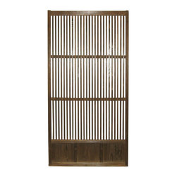 Japanese Temple Door - Japanese taisho period sliding door was used to divide various rooms inside a temple. Simple slat design with richly grained cedar wood.