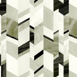Abstract Chevron Design, Stone Grey - This black and white wallpaper is gorgeous! I would love to cover an entire room with this fabulous paper!