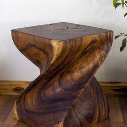 End Table Big Twist Natural Wood Furniture - Hand Carved Monkey Pod Wood Big Twist End Table 16 x 16 x 20 . . . manufactured in Thailand