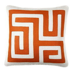 "Labyrinth Square Throw Pillow - Terracotta - Magnolia Lane designer pillow collection offers hand sewn works for art.s Only 2 will be available this Labyrinth Square Throw Pillow - Terracotta Hand stitched with thin brown 100% Cotton Thread. The hand stitched 5/8"" hemp twine flange gives this pillow a soft edge with a zipper closure. Size: 18"" x 18""(including flange) the body is made of 100% Natural Linen (New) and the design us 100% recycled linen. The pillow form is a 25/75 down feather, extra full fill. To Care for this pillow please dry clean only. Please note that color between monitors and printers can vary greatly. A sample of the design fabric can be sent on a limited basis. Pillows are made to order and will ship in 4-5 weeks."