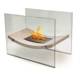 Anywhere Fireplaces - Anywhere Fireplace Broadway, Floor Standing - The Anywhere Fireplace Broadway model combines the sophisticated elegance of beige lacquer and glass fireplace with all the benefits of a bio-ethanol fireplace-no installation, clean burning, ventless, needs no chimney, gas or electric hook-up. The gracefully curved body of the fireplace will add a distinctive focal point to any room in which you choose to place it and will work with any decor. You may use it safely indoors or outdoors, just be sure to either cover it or bring the burner inside so water does not get into it if you choose to use it outdoors. Place it on the floor or on a large table and its beautiful dancing flames you will create the perfect ambiance. It USES LIQUID ETHANOL FUEL made only for fireplaces. Never substitute any other fuel. Be sure to NOT confuse it with the bio-ethanol and other fuels sold for cars other none fireplace applications.