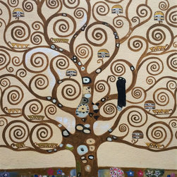 """overstockArt.com - Klimt - Tree of Life - 8"""" X 10"""" Hand Painted Canvas Hand painted oil reproduction of a famous Klimt painting, Tree of Life. The original masterpiece was created in 1909. Today it has been carefully recreated detail-by-detail, color-by-color to near perfection. Gustav Klimt (1862-1918) was one of the most innovative and controversial artists of the early twentieth century. Influenced by European avant-garde movements represented in the annual Secession exhibitions, Klimt's mature style combines richly decorative surface patterning with complex symbolism and allegory, often with overtly erotic content. This work of art has the same emotions and beauty as the original. Why not grace your home with this reproduced masterpiece? It is sure to bring many admirers!"""