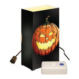 LumaBase Luminarias - Electric Luminaria Kit with LumaBases Jack O' Lantern - Electric luminarias will create festive lighting for your special event. They are weather resistant, so they can be enjoyed for many seasons. Simply stretch the 30-ft lights cord and position each of the light bulbs through the hole in the back of each lantern. The anchor stakes will secure the lantern into the ground. The included LumaBases are a weighted base that will weight the lantern on hard surfaces.They can be used indoors or out. The durable lanterns assemble easily and fold flat for compact storage. Included: 10 Plastic Lanterns, 10 C7-5 Watt Bulbs, 1 UL Listed 30' Electric Cord with End to End Connectors, 10 Anchor Stakes, 10 LumaBases