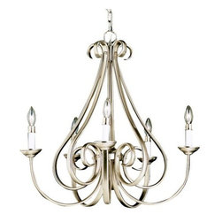 "Kichler - Dover Scroll Chandelier by Kichler - The Kichler Dover Scroll Chandelier is an opulent fixture with curves that would make Marilyn jealous. Characterized by its long, sweeping arms, this fixture offers a clean look while remaining fresh and exciting. Choose from 3 distinguished finishes.Since 1938, Cleveland-based Kichler Lighting has created exceptional lighting in a variety of styles, finishes, colors and designs. With a diverse collection of indoor and outdoor lighting in classic and contemporary styles, Kichler Lighting always focuses on making home lighting that is both beautiful and functional.The Kichler Dover Scroll Chandelier is available with the following:Features:Metal frameCeiling canopy72"" chain52"" lead wireOptions:Finish: Brushed Nickel, or Tannery Bronze.Lighting: Five 60 Watt 120 Volt Candelabra Base Incandescent lamps (not included).Shipping:This item usually ships in 3-5 days."