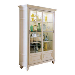 American Drew - American Drew Camden-Light Bookcase/China Feet in White Painted - The Camden-Light collection melds simple forms with quiet traditional references, gentle curves and a beautiful time worn ivory finish that lets the character of the wood show through. The brushed nickel finish hardware adds even more character to the Camden collection. This line will work great in your renovated farm house or a smaller beach cottage get-away.