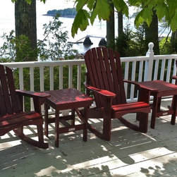 "Red rocking chairs - Adirondack rocking chair and Garden rocking chairs with square side tables in ""Dinner Party"" red"