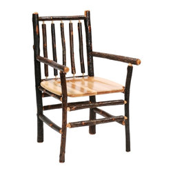 Fireside Lodge Furniture - Hickory Spoke Back Log Arm Chair (Espresso) - Finish: EspressoHickory Collection. Contoured wooden seat. All hickory logs are bark on and kiln dried to a specific moisture content. Individually hand crafted. Clear coat catalyzed lacquer finish for extra durability. 2-Year limited warranty. 26 in. W x 24 in. D x 38 in. H (40 lbs.)
